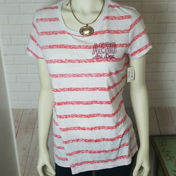 Aeropostale Tops - Red and White Striped T-shirt by Aeropostale XL